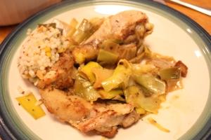 Wednesday Dinner: Lemon chicken and leeks