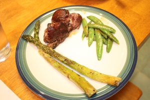 Saturday Dinner: Filet mignon with roasted asparagus and flash-fried sugar snap peas