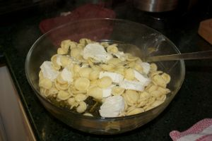 Monday dinner: Orecchiette with rappi and goat cheese
