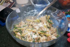 Wednesday dinner: Farro with chicken, beans and goat cheese