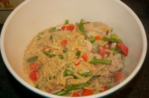 Thursday dinner: Orzo risotto with chicken thighs and spring vegetables