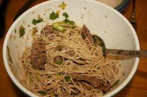 Monday dinner: Soba noodles with sweet ginger scallion sauce