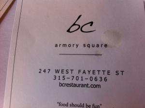bc restaurant, Syracuse, N.Y. (redux)