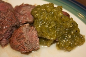 Monday dinner: Mojo flap steak with salsa verde