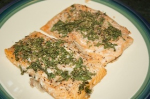 Monday dinner: Herb-crusted salmon with lemon-capers vinaigrette