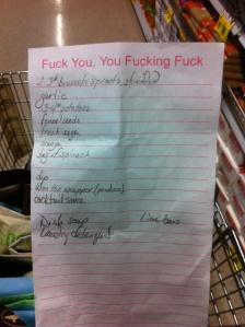 Grocery list: December 23, 2012
