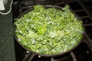 Kale, hitting the pan.