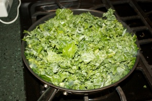 Kale, hitting the pan.