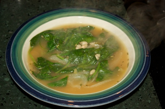 Thursday dinner: Hearty White Bean and Spinach Soup with Rosemary and Garlic