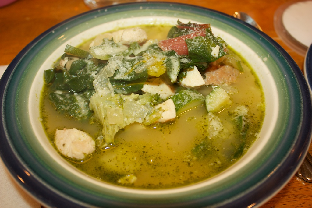 Wednesday dinner: Pesto, chicken, and white bean soup