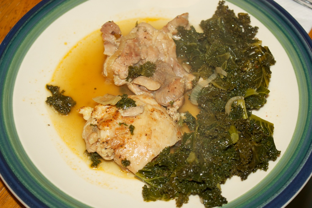 Wednesday dinner: Google's braised chicken and kale