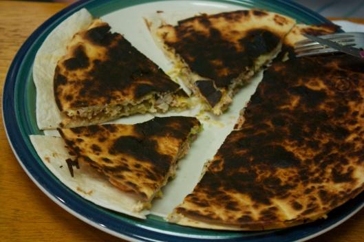 Tuesday dinner: Tomatillo Chicken Quesadilla