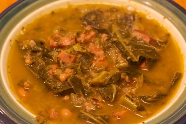 Wednesday Dinner: Black-eyed Pea, Ham, and Collard Green Soup