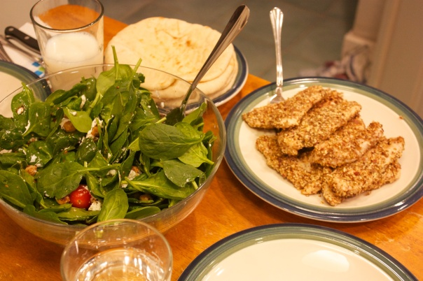Thursday Dinner: Dukkah-Crusted Chicken and Roast Chickpea Salad