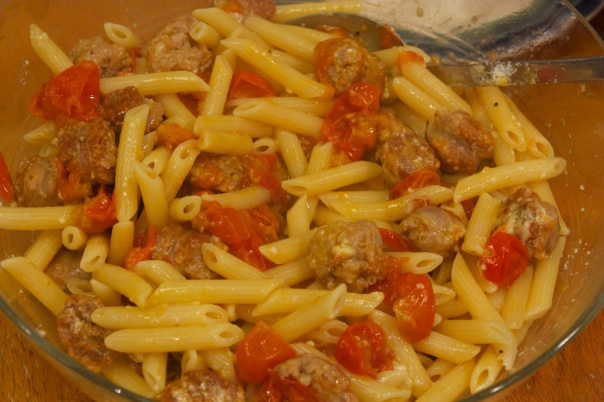 Meaty Monday: Pasta with Caramelized Tomatoes and Sausage