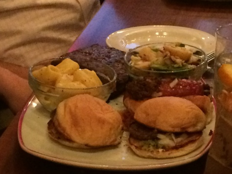 Butcher's Farmhouse Grill: Two Baby Cheeseburgers, Chili Dog, Fork Tender Pork Ribs, Potato Salad and Farmer's Chips