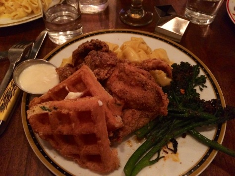 Southern Pan-Fried Chicken and Waffles with macaroni and cheese and grilled broccolini