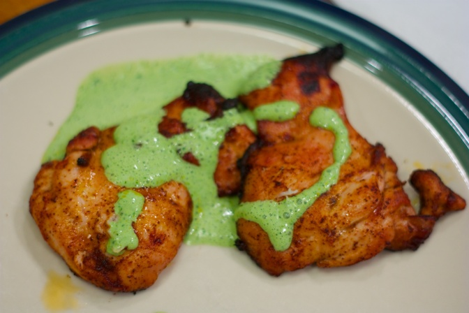Wednesday Dinner: Honey-Chili Chicken Thighs with Cilantro Cream