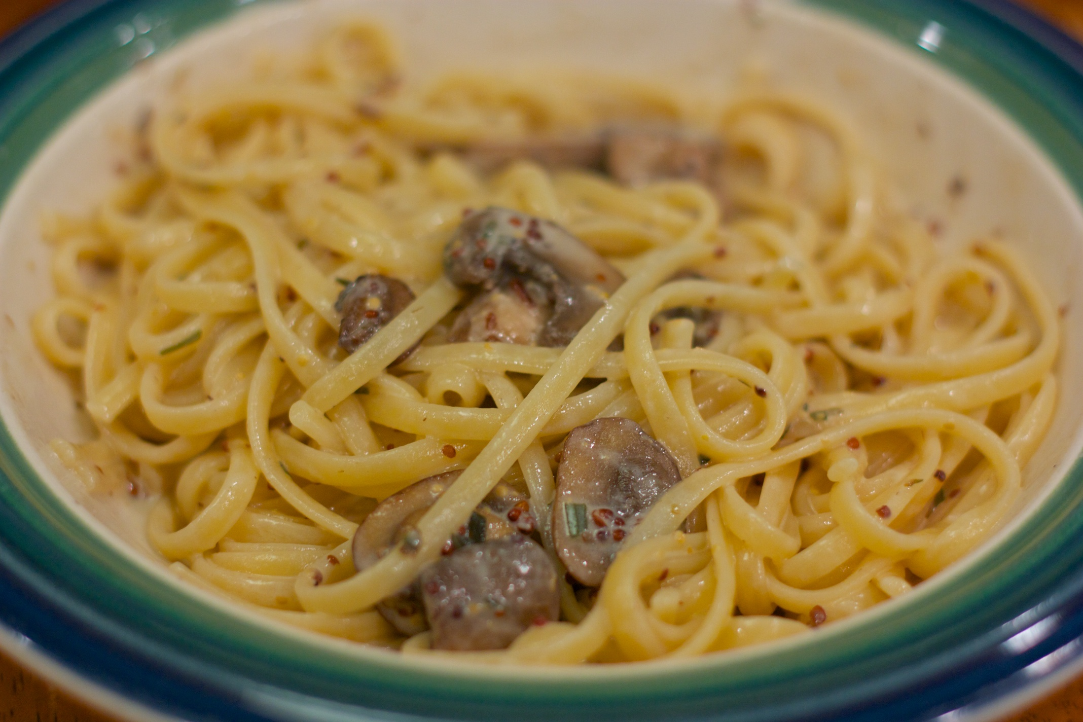 Tuesday Dinner: Pasta With Mushrooms in a Mustard Cream Sauce